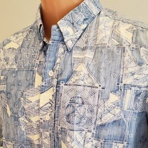 Kahala men's Hawaiian blue fish cotton shirt L